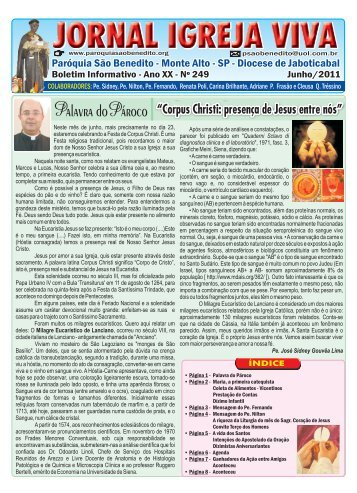Jornal Igreja Viva Junho 2011 - Paróquia São Benedito