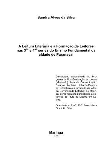 Sandra Alves da Silva A Leitura Literária e a Formação de Leitores ...