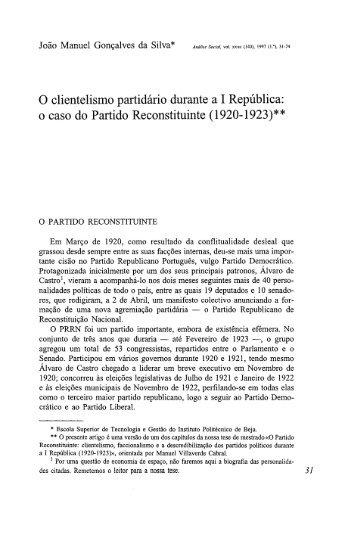 O clientelismo partidário durante a I República: o ... - Análise Social