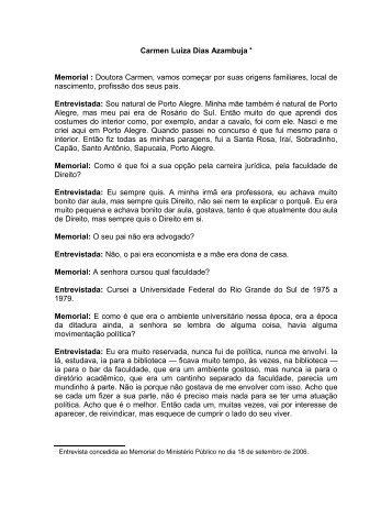 Carmen Luiza Dias Azambuja • Memorial - Ministério Público - RS