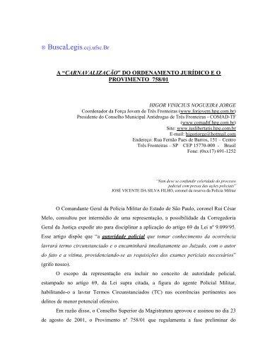 """""""CARNAVALIZAÇÃO"""" DO ORDENAMENTO JURÍDICO ... - BuscaLegis"""