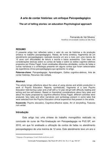 A arte de contar histórias: um enfoque Psicopedagógico - PePSIC