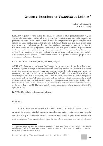 Ordem e desordem na Teodicéia de Leibniz 1 - Revista Índice