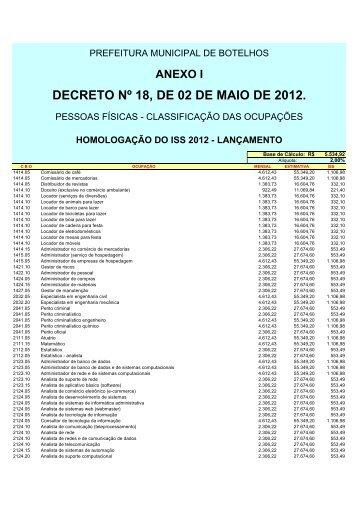 DECRETO Nº 18, DE 02 DE MAIO DE 2012. - FISCOSoft