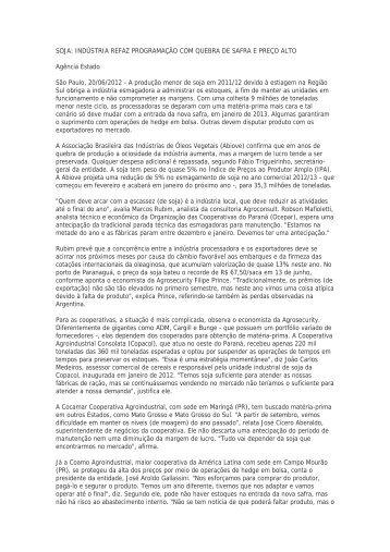 SOJA: INDÚSTRIA REFAZ PROGRAMAÇÃO COM QUEBRA DE ...