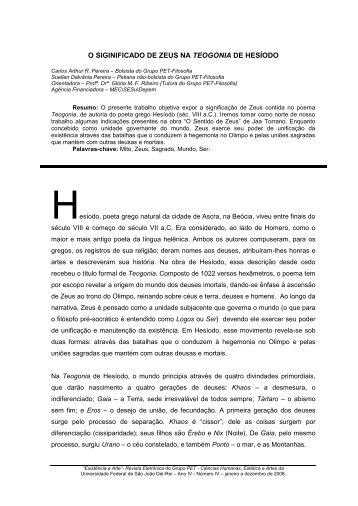 O SIGINIFICADO DE ZEUS NA TEOGONIA DE HESÍODO - UFSJ