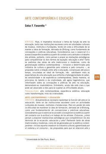 arte contemporânea e educação - Revista Iberoamericana de ...