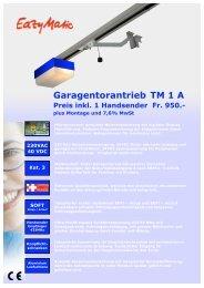 Garagentorantrieb TM 1 A Preis inkl. 1 ... - UNINORM Technic AG