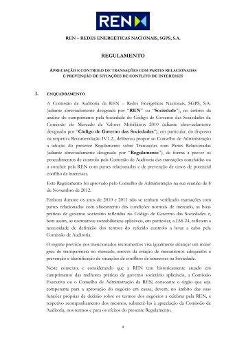 Regulamento sobre Transações com Partes Relacionadas - REN