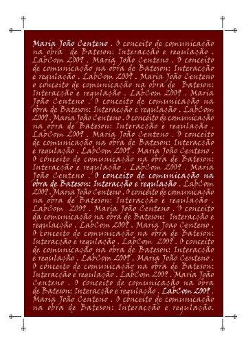 O Conceito de comunicação na obra de Bateson - Livros LabCom ...