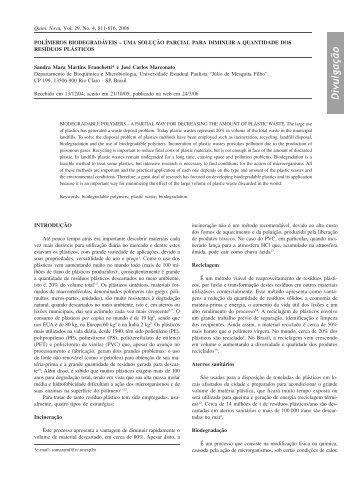 polímeros biodegradáveis - Química Nova