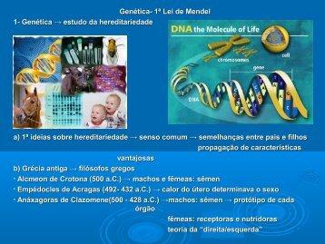 Genética- 1ª Lei de Mendel 1- Genética → estudo da ...