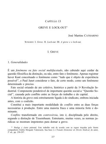 GREVE E LOCK-OUT* José Martins CATHARINO I. GREVE 1 ...