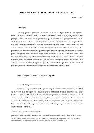Segurança, segurança humana e América Latina - Bernardo Sorj