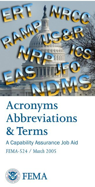 FEMA Acronyms Abbreviations and Terms - Federal Emergency