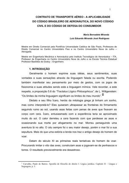 b6fd5233cd8c o contrato de transporte aéreo ea aplicabilidade - Instituto ...