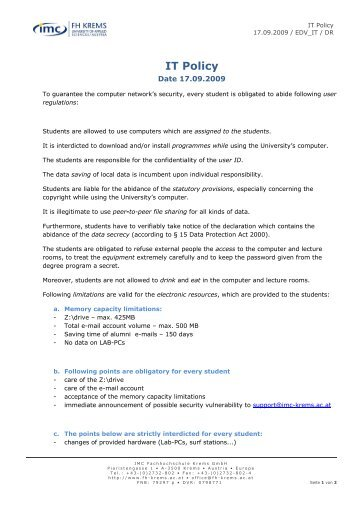 IT Policy - IMC Fachhochschule Krems Gmbh