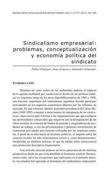 Sindicalismo empresarial: problemas, conceptualización y ... - RELET