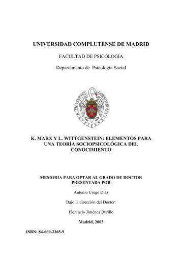 K. Marx y L. Wittgenstein - Universidad Complutense de Madrid