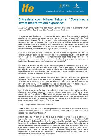 "Entrevista com Nilson Teixeira: ""Consumo e investimento ... - UFRJ"