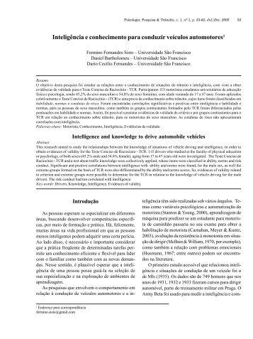 Inteligência e conhecimento para conduzir veículos ... - PePSIC