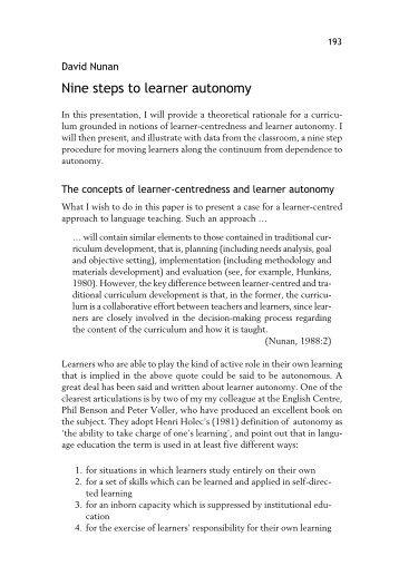 Nine steps to learner autonomy
