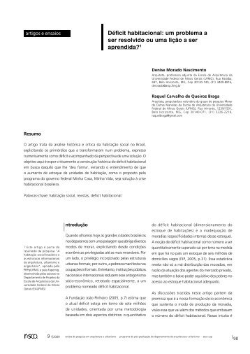Déficit habitacional - Escola de Arquitetura – UFMG