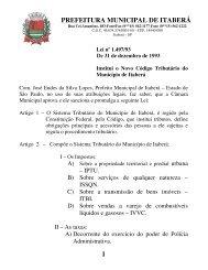 Código tributário Municipal - prefeitura municipal de itabera