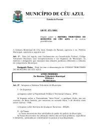 Lei 271 - Código Tributário - Site Oficial de Céu Azul