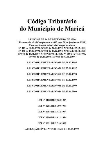 Código Tributário Municipal - Prefeitura de Maricá