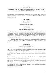 Legislação Tributária do Município - Câmara Municipal de Luz