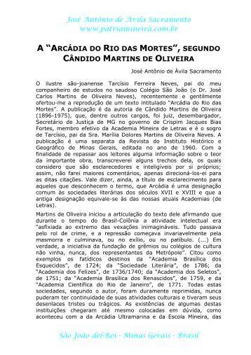 Arcádia do Rio das Mortes (segundo Cândido ... - Pátria Mineira