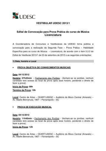 Convocação para Prova Prática - Curso: Música - Licenciatura - Udesc