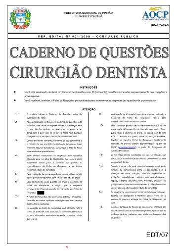 Prova - Centro Preparatório para Concursos de Odontologia