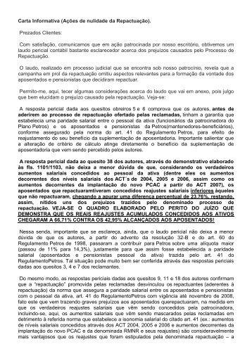 Carta Informativa (Ações de nulidade da Repactuação ... - Fenaspe