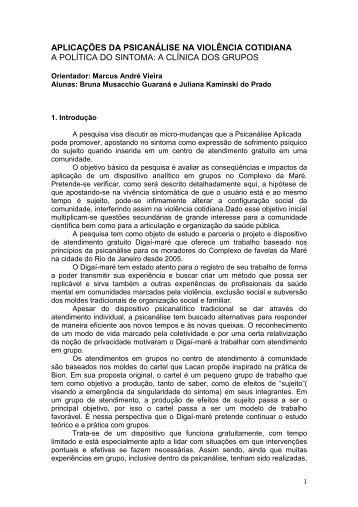 aplicações da psicanálise na violência cotidiana a política - PUC-Rio