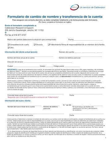 Formulario de cambio de nombre y transferencia ... - Optimum Online