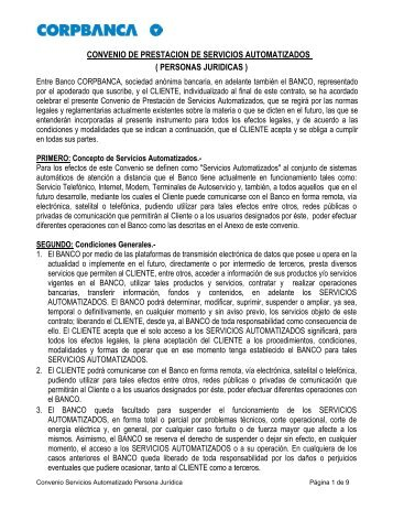 Convenio Prestación Servicios Automatizados - Corpbanca