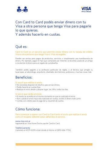 Con Card to Card podés enviar dinero con tu Visa a otra persona ...
