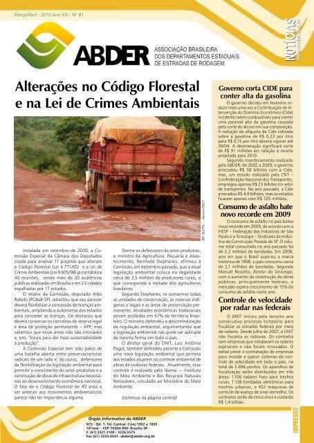 Alterações no Código Florestal e na Lei de Crimes Ambientais