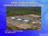 ANEEL Audiência Publica ENERGIA DE RESERVA – CUSD e CUST