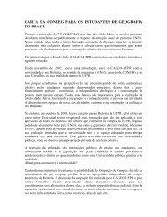 carta da coneeg para os estudantes de geografia do brasil