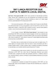 SKY LANÇA RECEPTOR QUE CAPTA TV ABERTA LOCAL DIGITAL
