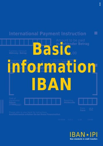 IBAN/IPI: Basic information on IBAN [pdf] - SIX Interbank Clearing