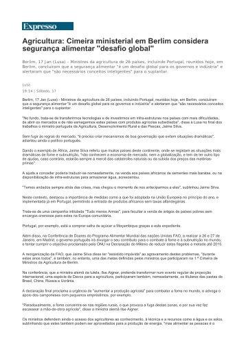 Agricultura: Cimeira ministerial em Berlim considera ... - CNA