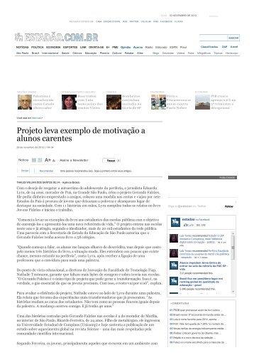 matéria publicada no jornal o estado de são paulo - Jovens Falcões