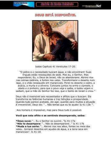 """Isaías Capítulo 41 Versículos 17-20. """"O pobre e o necessitado ..."""