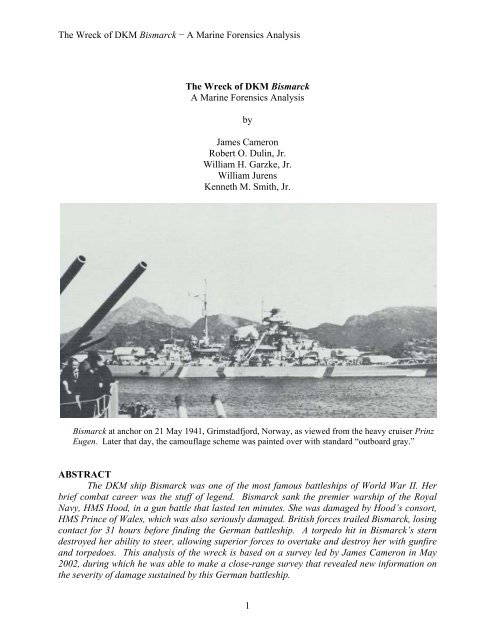 The Wreck of DKM Bismarck − A Marine Forensics Analysis 1 The ...