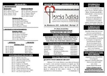 Boletim 01-2010 - Igreja Batista Mandacaru