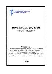 BIOQUÍMICA QBQ230N Biologia Noturno - Instituto de Química